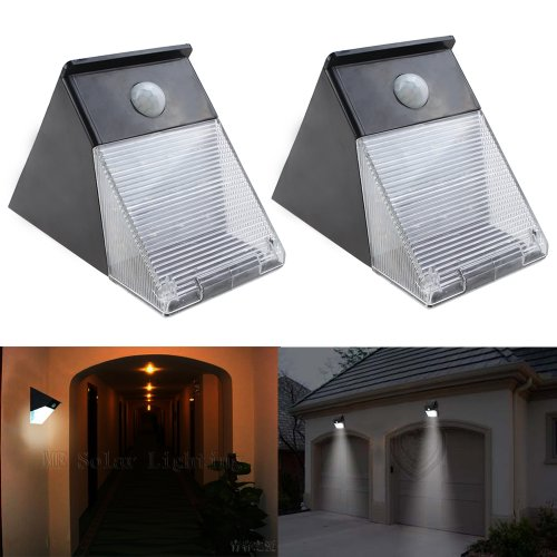 Image® 2 Pack 12 Led Waterproof Solar Battery Pir Motion Sensor Wall Light Lamp For Outdoor Pathway Garden Yard Lanscape Path Halloween Party Light