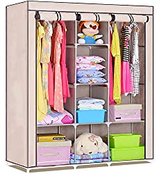 Evana 4.1 Feet Creative Cream Cabinet Easy Installation Folding Wardrobe Cupboard Almirah Foldable Storage Rack Collapsible Cloths Organizer