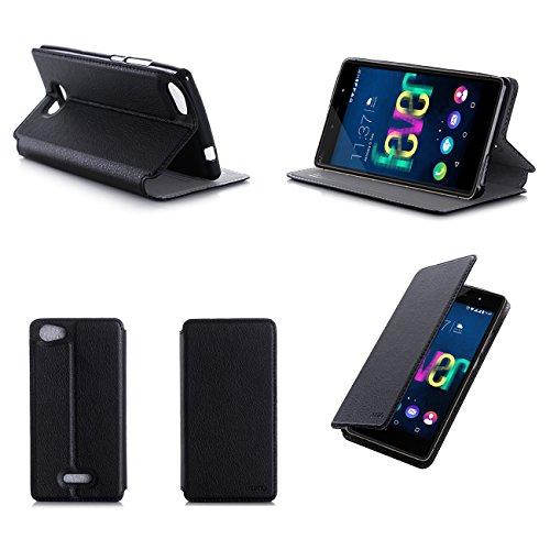 Nera Custodia Pelle Ultra Slim per Wiko Fever 4G smartphone - Flip Case Funda Cover protettiva Wiko Fever (PU Pelle - Nero/Black) - XEPTIO accessori