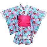 ベビー 浴衣ドレス 女の子 ドーリーリボン イチゴ ハート模様 3点セット 浴衣