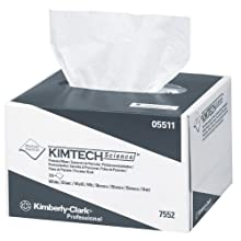 "Kimberly-Clark Kimtech 05511 Science Precision Wipes Tissue Disposable Wiper, 8-25/64"" Length x 4-25/64"" Width, White (60 Packs of 280)"
