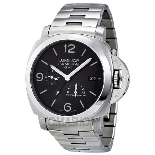 Panerai Luminor 1953 Black Dial GMT Automatic Stainless Steel Mens Watch PAM00347