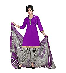 Ethnic Chic violet colored cotton suit.