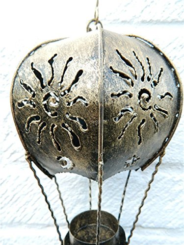 Hot Air Balloon Hanging Metal Tea light T Lite Candle Holder Garden Lantern - Gold Balloon 25cm Tealight