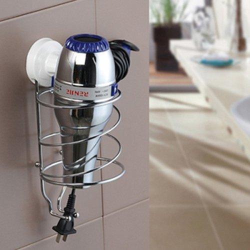 Ouku Wall Mount Plastic And Metal Bathroom Shelves Hair Dryer Holder Round Circle Up Corner Space Saver Storage Lavatory Improvement W11Cm X L11Cm X H23Cm