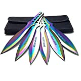 Avias Supply 9 Inch 6 Piece Stainless Steel Throwing Knife Set with Nylon Sheath (Blue Angel)