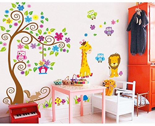 Ufengke albero fiore colorato simpatici gufi leone cervo - Decorazioni murali camerette bambini ...