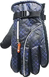 True Gear Cold Weather Winter Ski Gloves with Zipper Compartment (Navy)