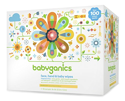 Babyganics Face, Hand and Baby Wipes, Fragrance Free, 400 Count (Contains Four 100 Count Packs)