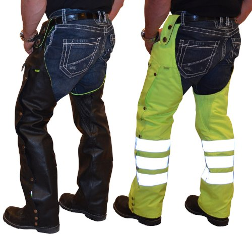 Missing Link Leather/Nylon Reversible Hook Chaps (Black/HiViz Green, XX-Large)