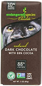 Endangered Species Panther, Dark Chocolate (88% Cocoa), 3-Ounce Bars (Pack of 12)