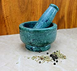 EtsiBitsi Green Mortar And Pestle Set, kharad, masher Spice Mixer For Kitchen 4 inches_EB_KT_001