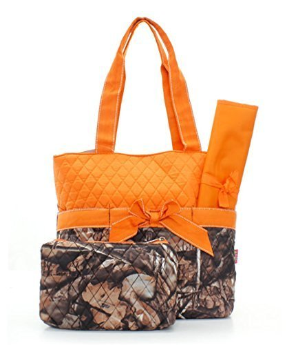 Quilted Orange And Natural Camo Print Monogrammable 3 Piece Diaper Bag With Changing Pad Tote Bag - 1
