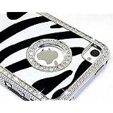 LiViTech(TM) Zebra Design Series Diamond Rhinestone Crystal Bling Silver Case for Apple iPhone 5 (AT&T,VERIZON,SPRINT) (Black White)