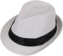 TAUT Unisex Fedora Hat Short Brim Sun Cap with Solid Color Band LXL Pure_White