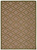 Green Rug Indoor/Outdoor Textured Carpet, 3-Feet 6-Inch by 5-Feet 6-Inch Stain Resistant Diamonds Design
