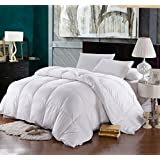 California-King Size Down-Comforter 500-Thread-Count Siberian Goose Down Comforter 100 percent Egyptian-Cotton 500 TC - 750FP - 60Oz - Solid White