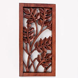 Balinese traditional leaves flower carved wood - Carved wood wall art panels ...