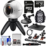 Samsung Gear 360 Spherical VR HD Video Camera Camcorder with 64GB Card + Helmet, Suction Cup & Dashboard Mounts + Backpack + Kit