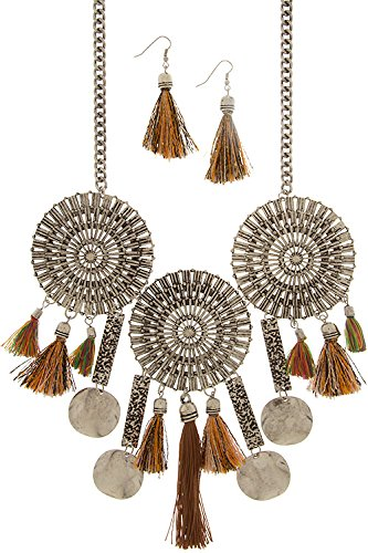 Trendy Fashion Jewelry Antique Tribal Metal Medallion With Tassel Necklace Set By Fashion Destination | (Antique Silver)