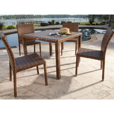 Panama Jack Outdoor 5-Piece St Barths Side Chair Dining Set, Includes 4 Side Chairs and 36-Inch Square Woven Table photo
