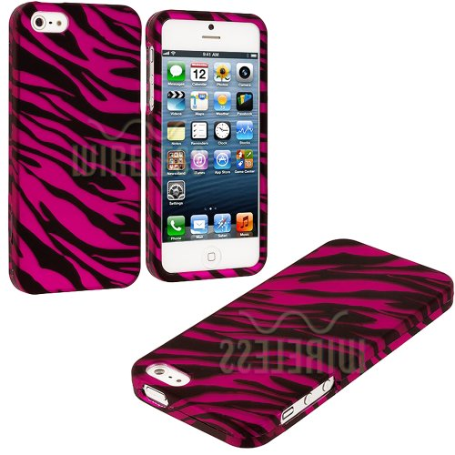 Mylife (Tm) Hot Pink + Black Zebra Stripes Series (2 Piece Snap On) Hardshell Plates Case For The Iphone 5/5S (5G) 5Th Generation Touch Phone (Clip Fitted Front And Back Solid Cover Case + Rubberized Tough Armor Skin + Lifetime Warranty + Sealed Inside My