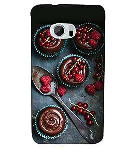 Fuson Premium Strawberries Printed Hard Plastic Back Case Cover for HTC M10