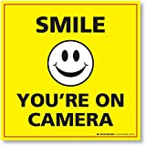 "Smile You're on Camera Sign - Self Adhesive 4 Mil Vinyl Security Decal - 5 ½"" X 5 ½"" - 4 Pack"