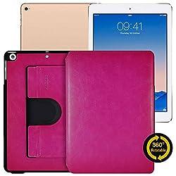AirCase Premium Leather 360 Degree Rotatable Slim Portfolio Case for Apple iPad Air [HOT PINK]