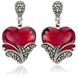 Sterling Silver Marcasite and Garnet Colored Glass Heart Earrings
