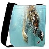 Snoogg Amazing Tiger Shark Designer Womens Carry Around Cross Body Tote Handbag Sling Bags