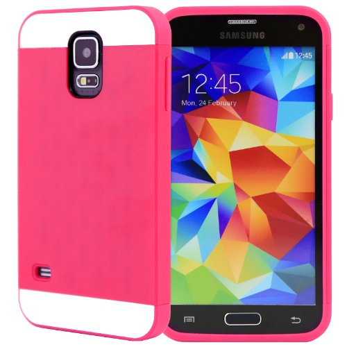 Celljoy [Vivid Hybrid] Tpu 2Pc Layered Hard Case Rubber Bumper For Samsung Galaxy S5 Sv (At&T / Verizon / Us Cellular / Sprint / T-Mobile / Unlocked) [Celljoy Retail Packaging] (Hot Pink / White)