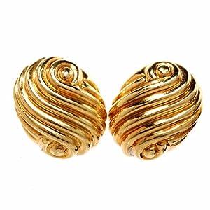 Estate Textured 18k Gold Clipback Earrings