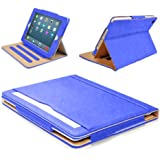 MOFRED® Royal Blue & Tan Apple iPad Air-5th Generation (2013 Version) Leather Case-MOFRED®- Executive Multi Function Leather Standby Case for Apple iPad Air with Built-in magnet for Sleep & Awake Feature + Screen Protector + Stylus Pen (Available in Variety of Colors)