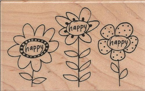 Happy Stem Trio Wood Mounted Rubber Stamp (M218)