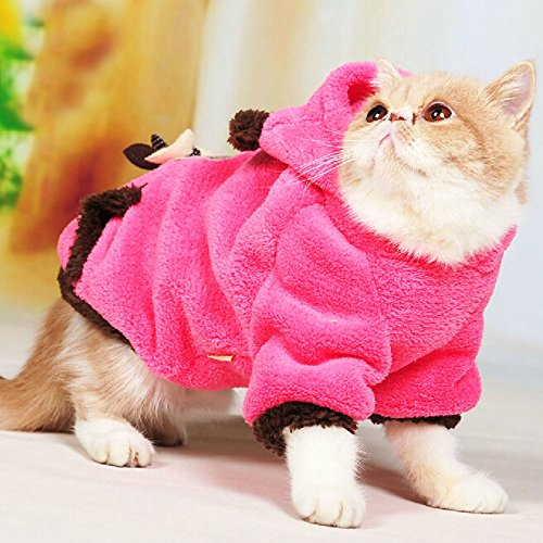Pet Plush Outfit with Hood for Small Dogs & Cats Winter Coat Warm Jacket (Rose Red, Medium)
