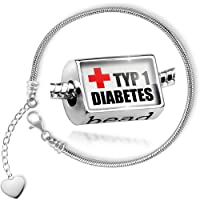 Charm Set Medical Alert, Type 1 diabetes - Bead comes with Bracelet , Neonblond from NEONBLOND