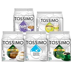 Get Tassimo Family Edition Set: Jacobs Krönung, Milka Chocolate, Cappuccino, Milk Composition, Chai Latte Lemongrass, 5 x 16 T-Discs by Kraft Foods
