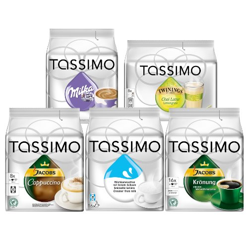 Get Tassimo Family Edition Set: Jacobs Krönung, Milka Chocolate, Cappuccino, Milk Composition, Chai Latte Lemongrass, 5 x 16 T-Discs by Kraft Foods