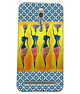 Fuson Blue Pattern Girl Back Case Cover for ASUS ZENFONE 2 - D3901