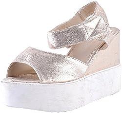 Deccan Shoes Girls Beige Satin Sandals (35 EU)