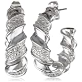 Bronze and Fine Silver Plated Twisted J-Hoop Earrings