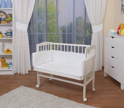 Baby Beistellbett mit Matratze und Nestchen, 8 Modelle wählbar, weiß lackiert,weiß