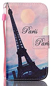 Galaxy S3 I9300 / S3 Neo I9301 Case AIYZE PU Leather Color Print with Wallet Stand Function / Short Lanyard / Credit Card Holder / Magnetic Snap Front and Back Folio Cover ( Black Paris Eiffel Tower )