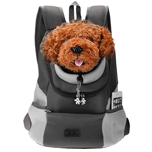 CozyCabin Latest Style Comfortable Dog Cat Pet Carrier Backpack Travel Carrier Bag Front for Small dogs Puppy Carrier Bike Hiking Outdoor (L, Black)