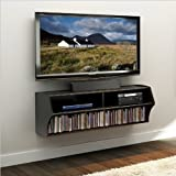 Prepac Altus Wall Mounted Home Entertainment Console in Black