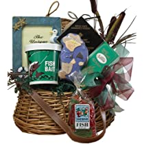 Lets Go Fishing! Fishing Creel Gift Basket - Great Gift For Him