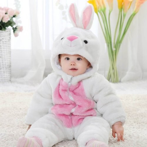Meilaier Winter Newborn Romper Animal White Bunny Rabbit Toddler Baby Onesie Outfits Suit Halloween Costume