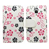Samrick Executive Floral Flowers Specially Designed Soft Leather Book Wallet Case with Credit Card/Business Card Holder, Screen Protector, Microfibre Cloth and White High Capacitive Stylus Pen for Samsung i8160 Galaxy Ace 2 - White/Pink