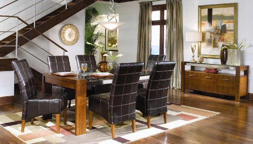 Summit Glass and Leather Dining Set
